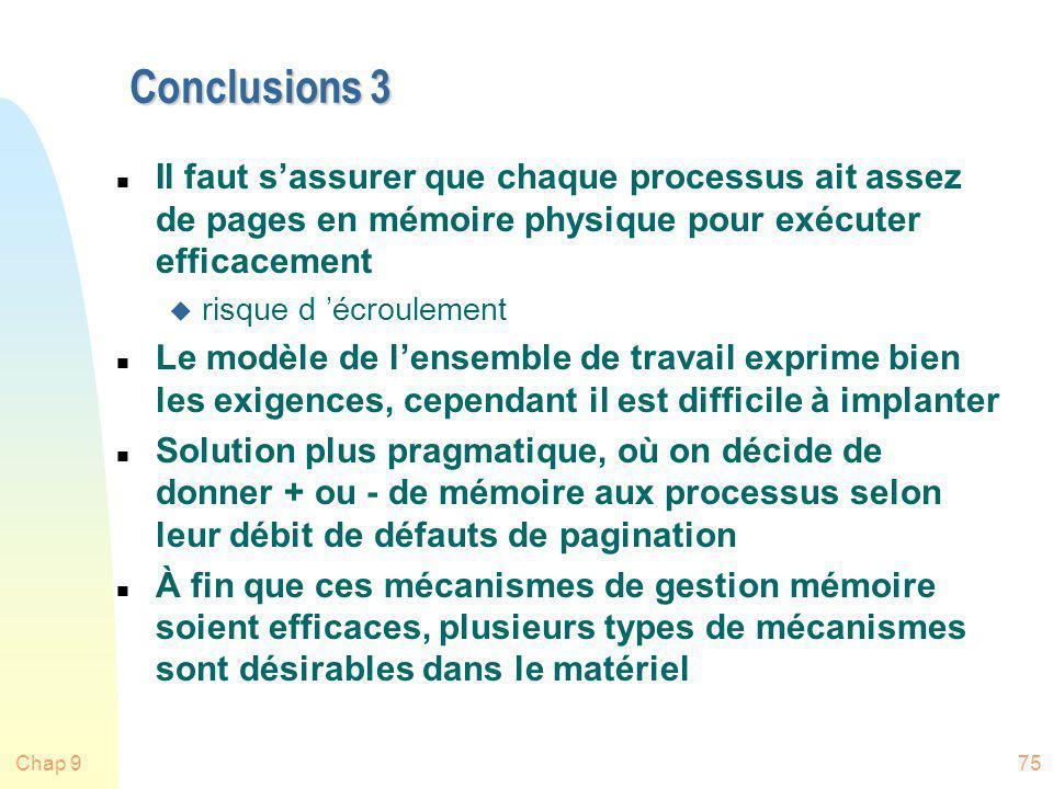 Conclusions 3 Il faut s'assurer que chaque processus ait assez de pages en mémoire physique pour exécuter efficacement.