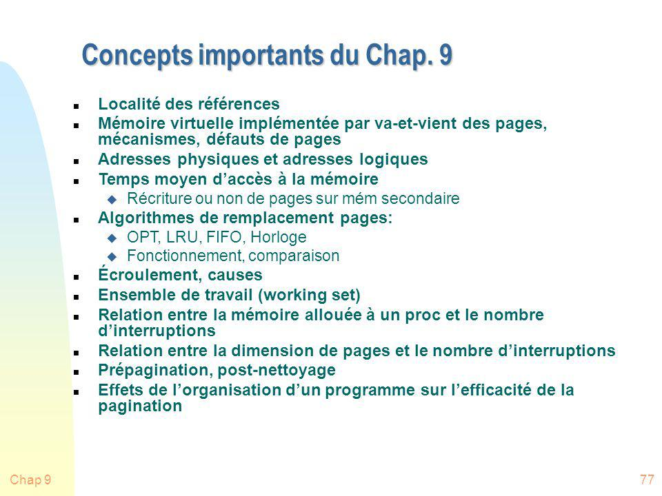 Concepts importants du Chap. 9