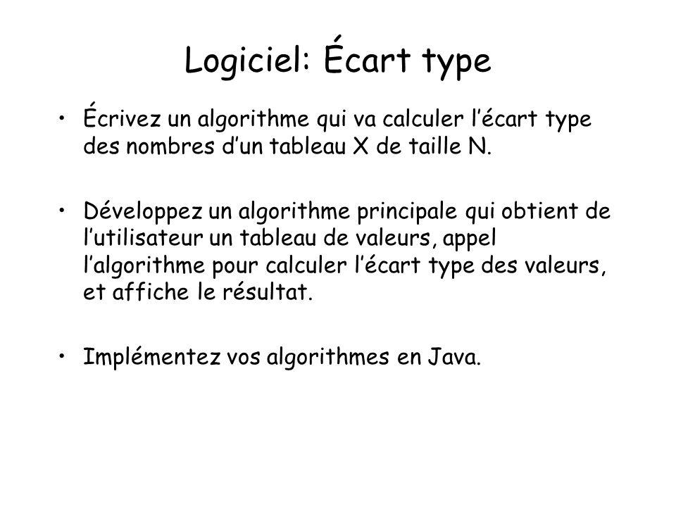 Logiciel: Écart type Écrivez un algorithme qui va calculer l'écart type des nombres d'un tableau X de taille N.