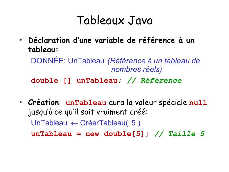Tableaux Java Déclaration d'une variable de référence à un tableau: