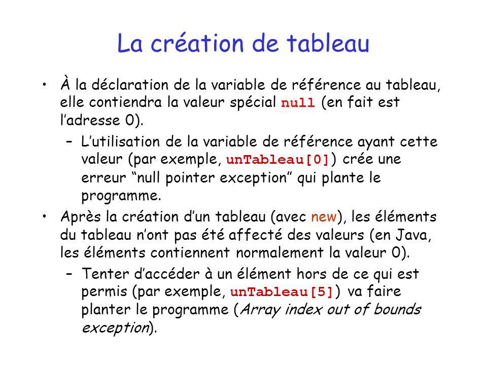 La création de tableau À la déclaration de la variable de référence au tableau, elle contiendra la valeur spécial null (en fait est l'adresse 0).