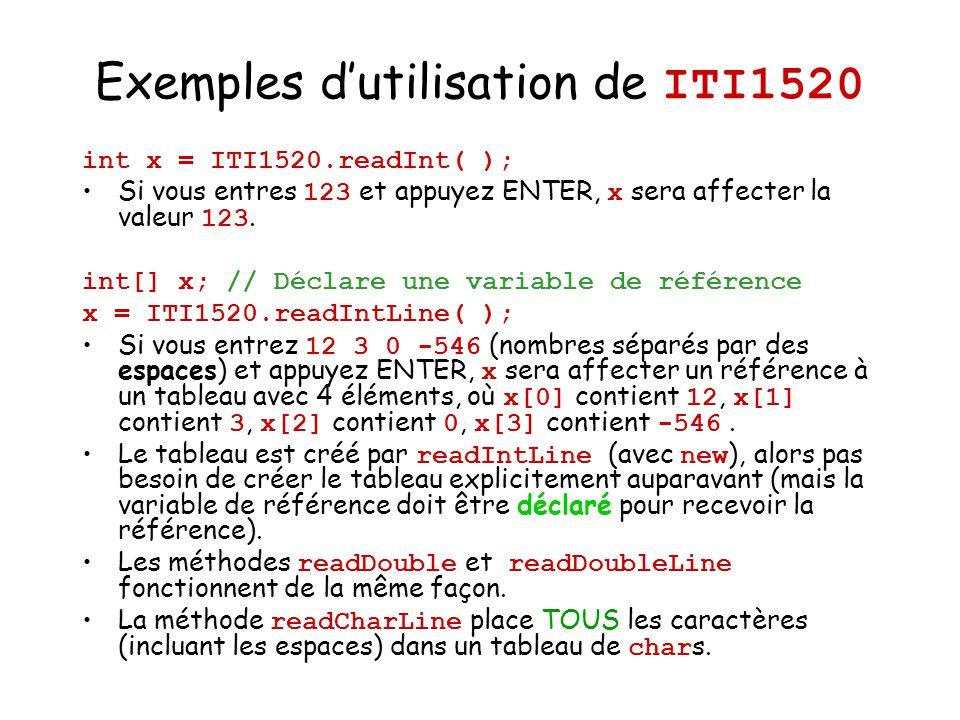 Exemples d'utilisation de ITI1520