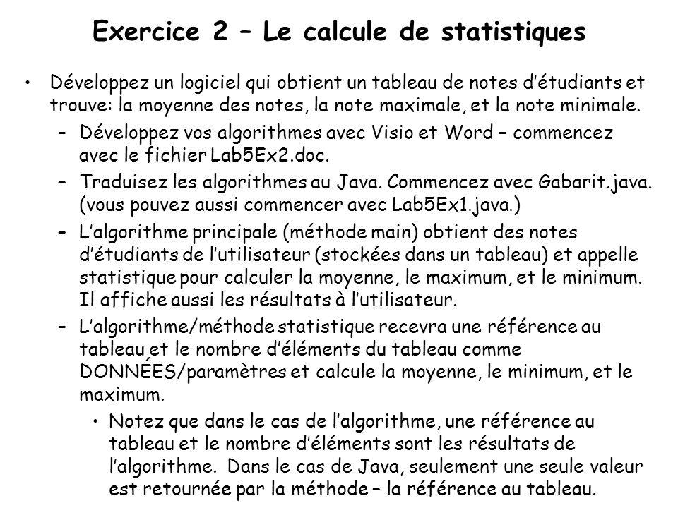Exercice 2 – Le calcule de statistiques