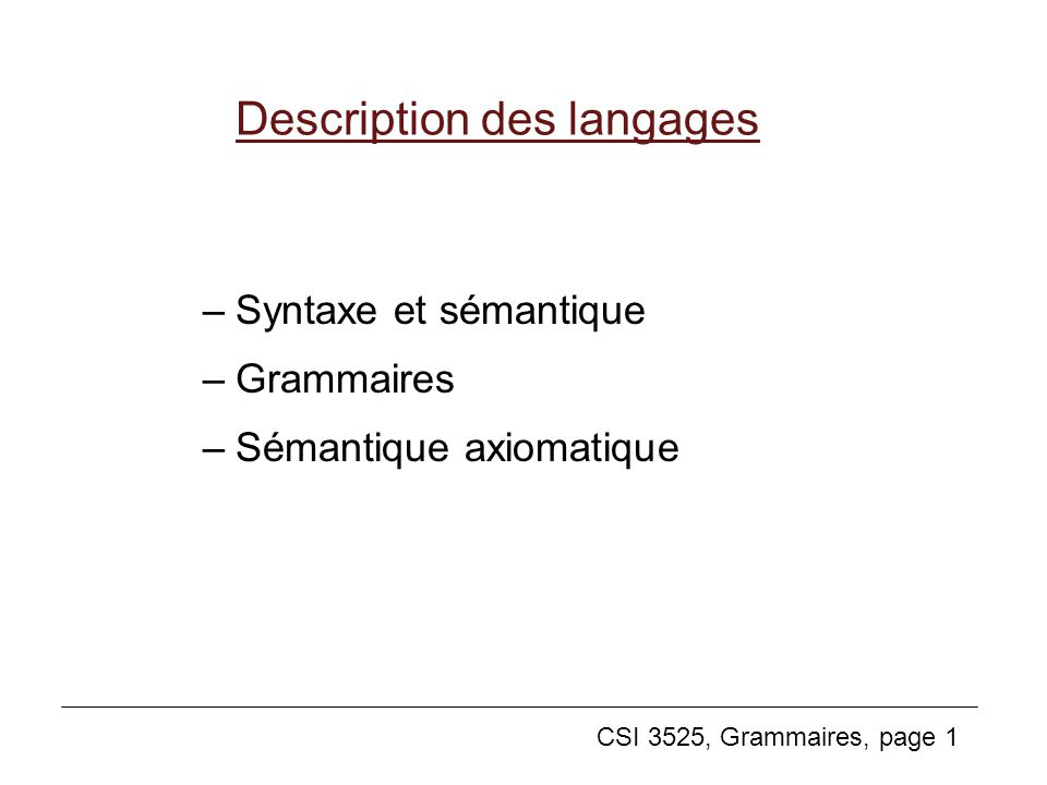 Description des langages