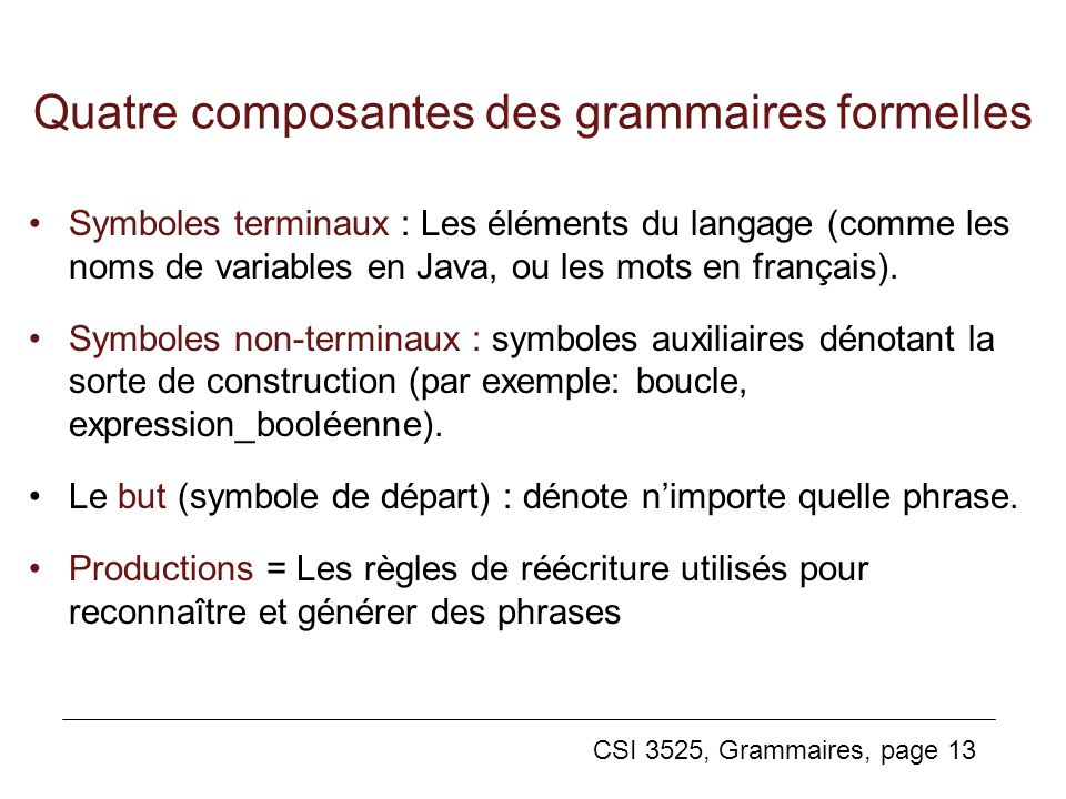 Quatre composantes des grammaires formelles