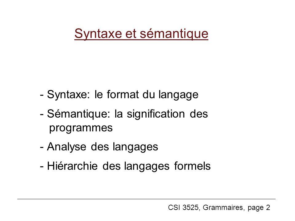 Syntaxe et sémantique - Syntaxe: le format du langage