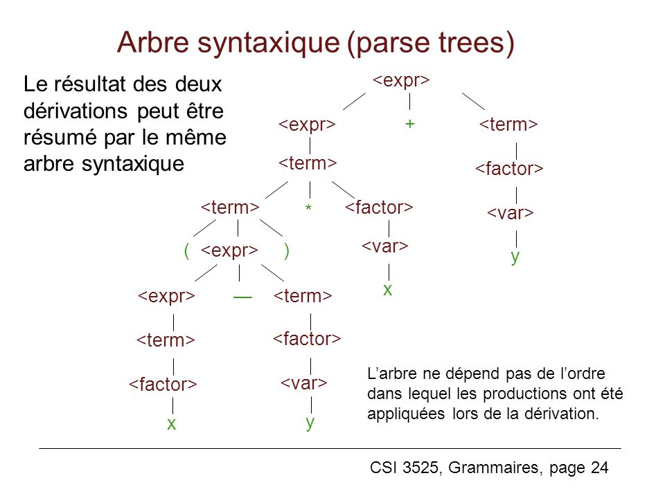 Arbre syntaxique (parse trees)