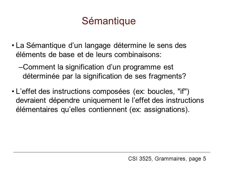 Sémantique La Sémantique d'un langage détermine le sens des éléments de base et de leurs combinaisons: