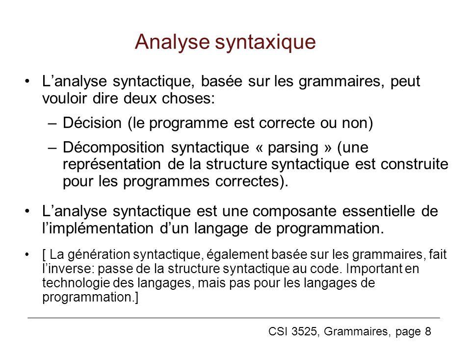Analyse syntaxique L'analyse syntactique, basée sur les grammaires, peut vouloir dire deux choses: