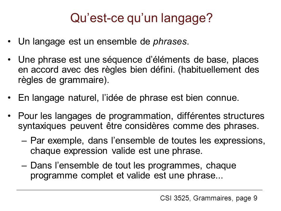 Qu'est-ce qu'un langage
