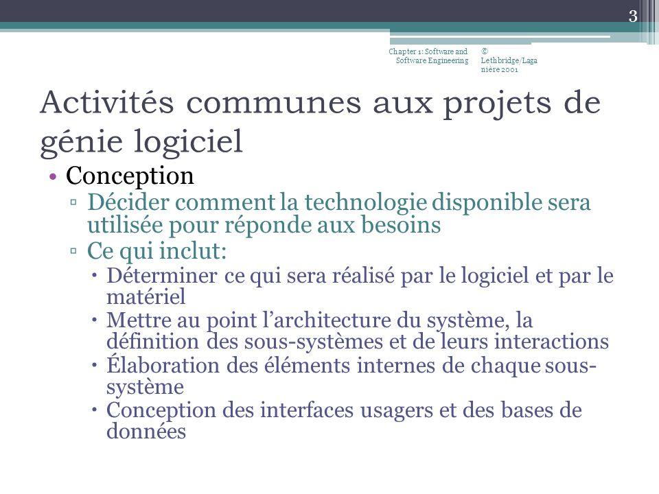 Activités communes aux projets de génie logiciel