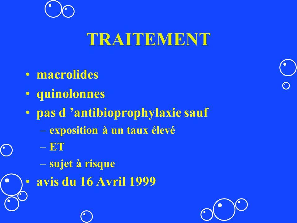 TRAITEMENT macrolides quinolonnes pas d 'antibioprophylaxie sauf