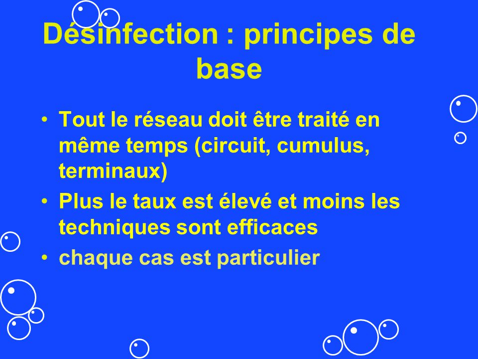 Désinfection : principes de base
