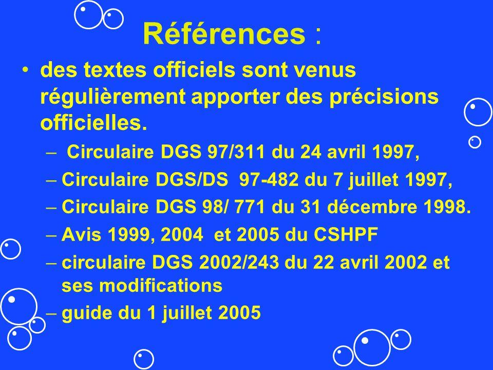 Références : des textes officiels sont venus régulièrement apporter des précisions officielles. Circulaire DGS 97/311 du 24 avril 1997,
