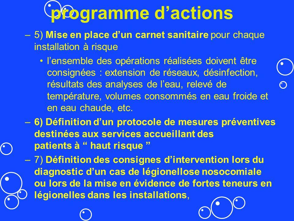 programme d'actions 5) Mise en place d'un carnet sanitaire pour chaque installation à risque.