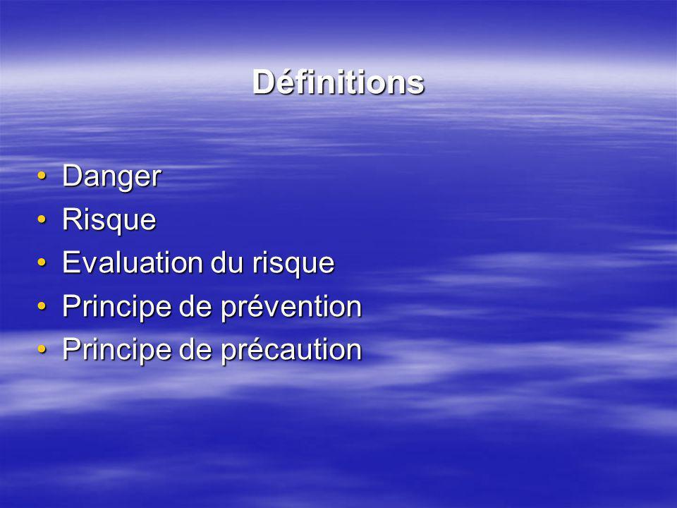 Définitions Danger Risque Evaluation du risque Principe de prévention