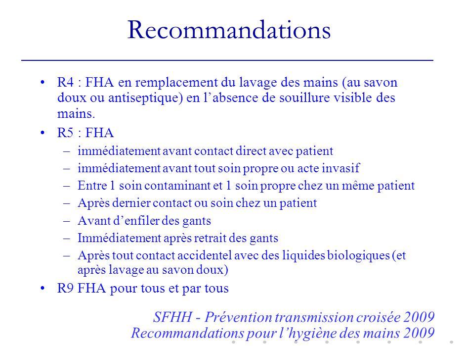 Recommandations SFHH - Prévention transmission croisée 2009