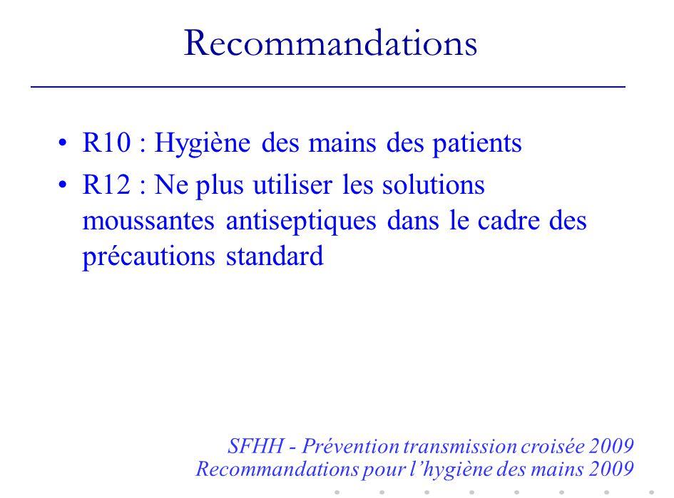 Recommandations R10 : Hygiène des mains des patients