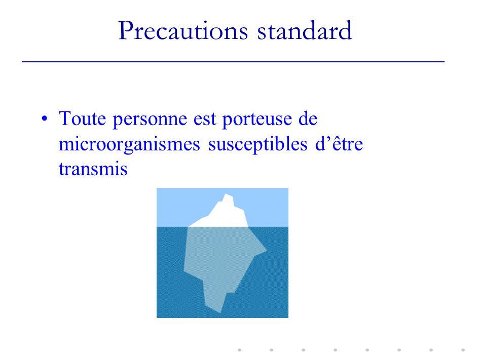 Precautions standard Toute personne est porteuse de microorganismes susceptibles d'être transmis.