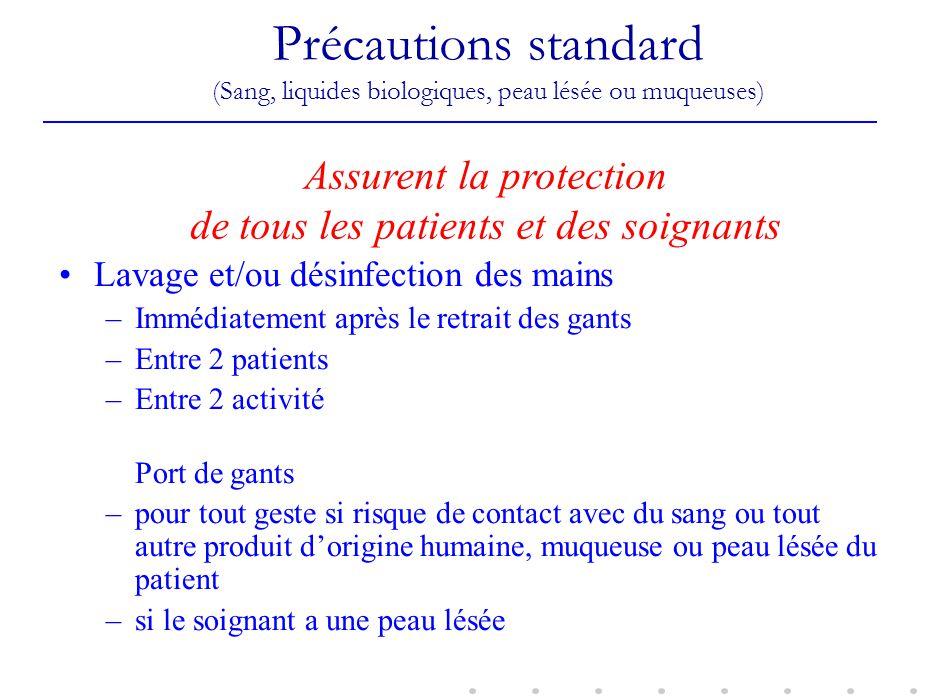 Assurent la protection de tous les patients et des soignants