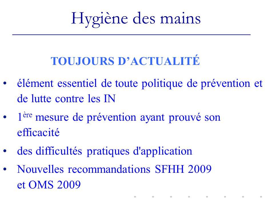 Hygiène des mains TOUJOURS D'ACTUALITÉ