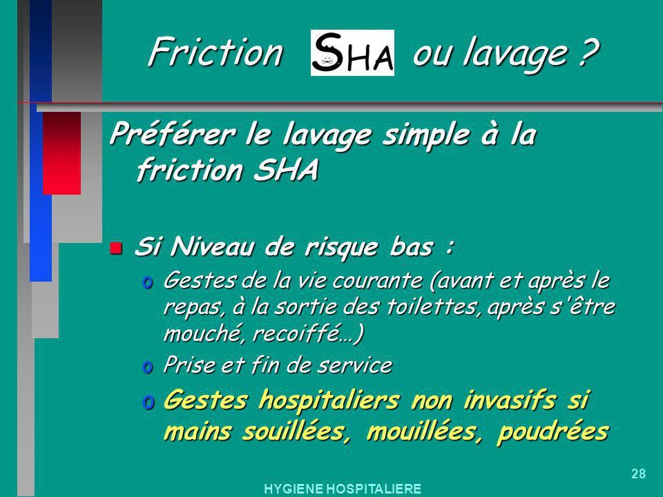 Friction ou lavage Préférer le lavage simple à la friction SHA