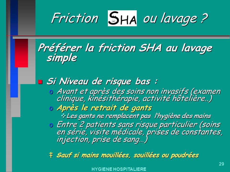 Friction ou lavage Préférer la friction SHA au lavage simple