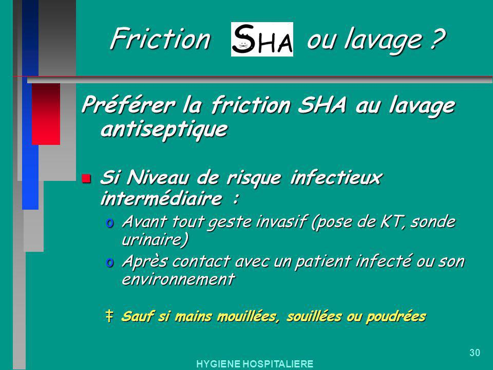 Friction ou lavage Préférer la friction SHA au lavage antiseptique
