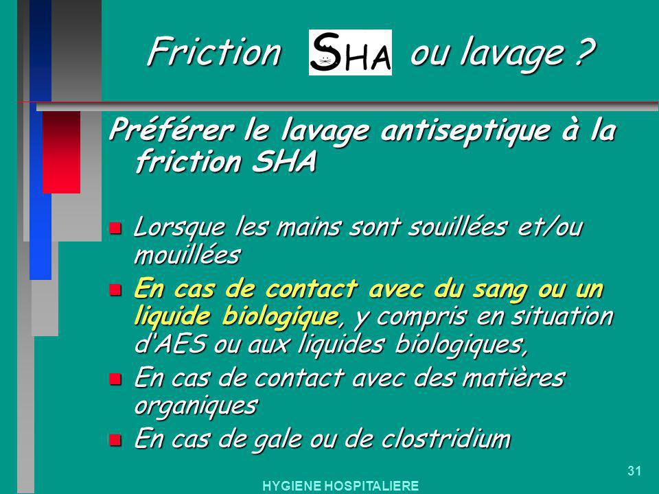 Friction ou lavage Préférer le lavage antiseptique à la friction SHA