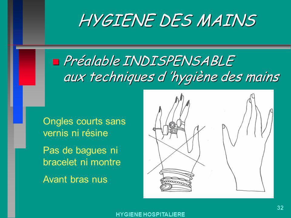 HYGIENE DES MAINS Préalable INDISPENSABLE aux techniques d 'hygiène des mains. Ongles courts sans vernis ni résine.