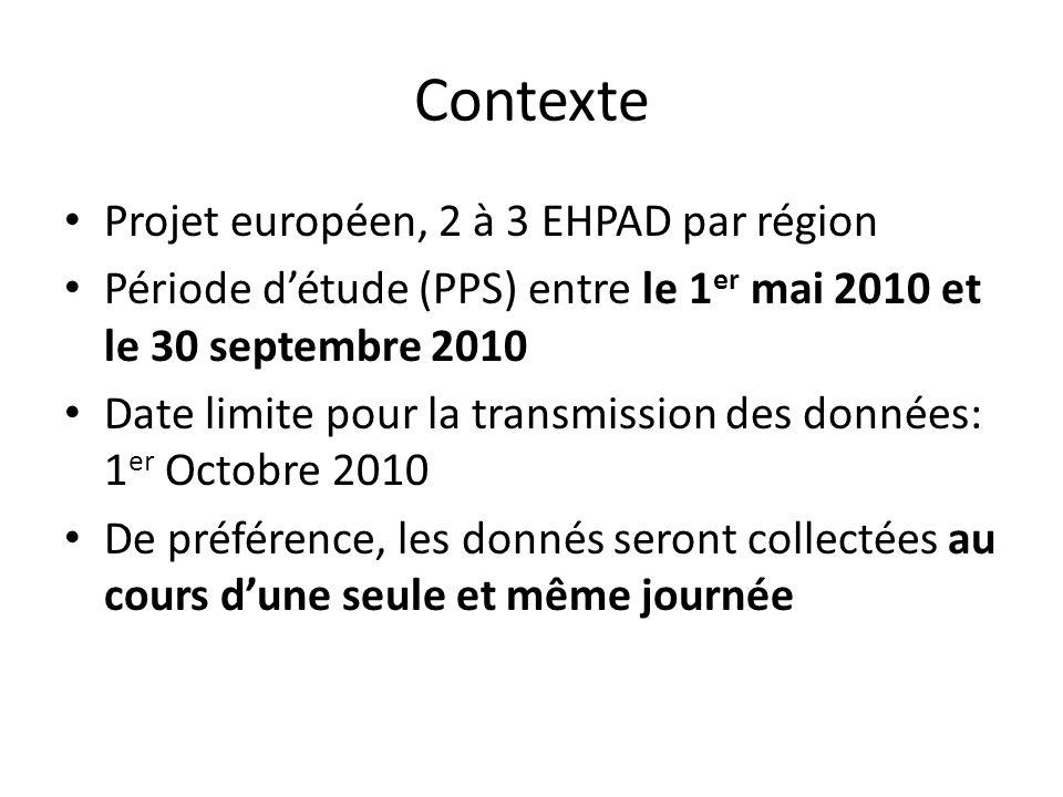 Contexte Projet européen, 2 à 3 EHPAD par région