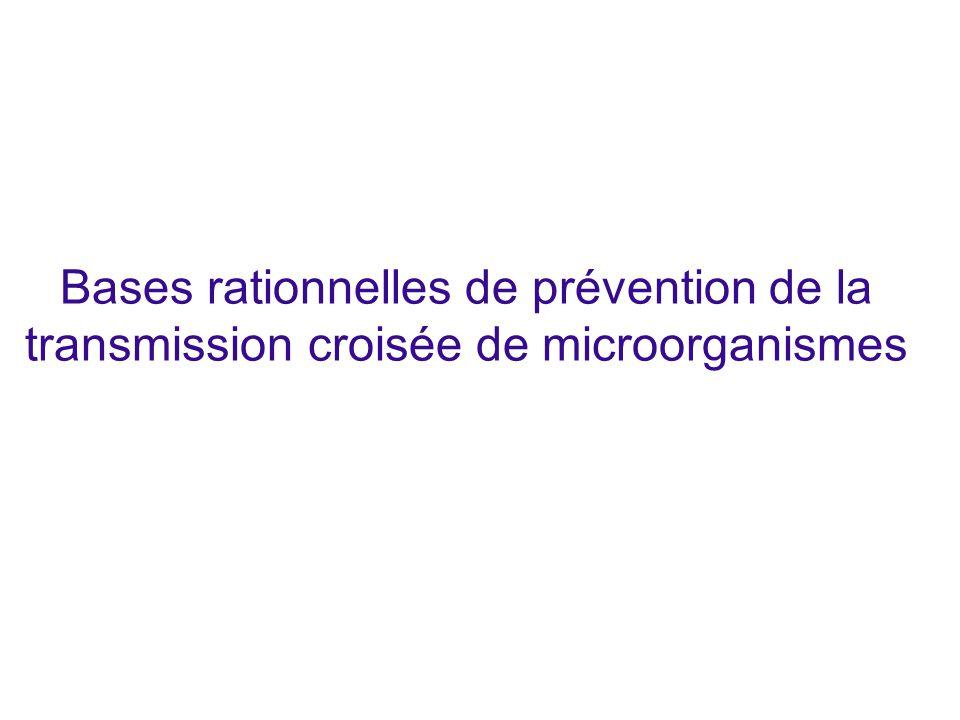 Bases rationnelles de prévention de la transmission croisée de microorganismes
