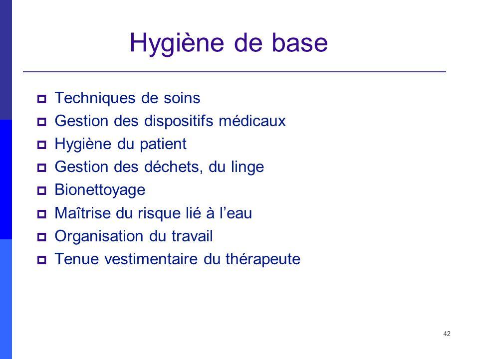 Hygiène de base Techniques de soins Gestion des dispositifs médicaux