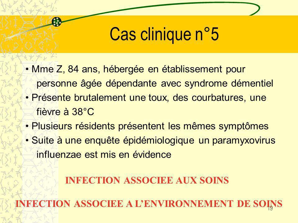 Cas clinique n°5 • Mme Z, 84 ans, hébergée en établissement pour personne âgée dépendante avec syndrome démentiel.