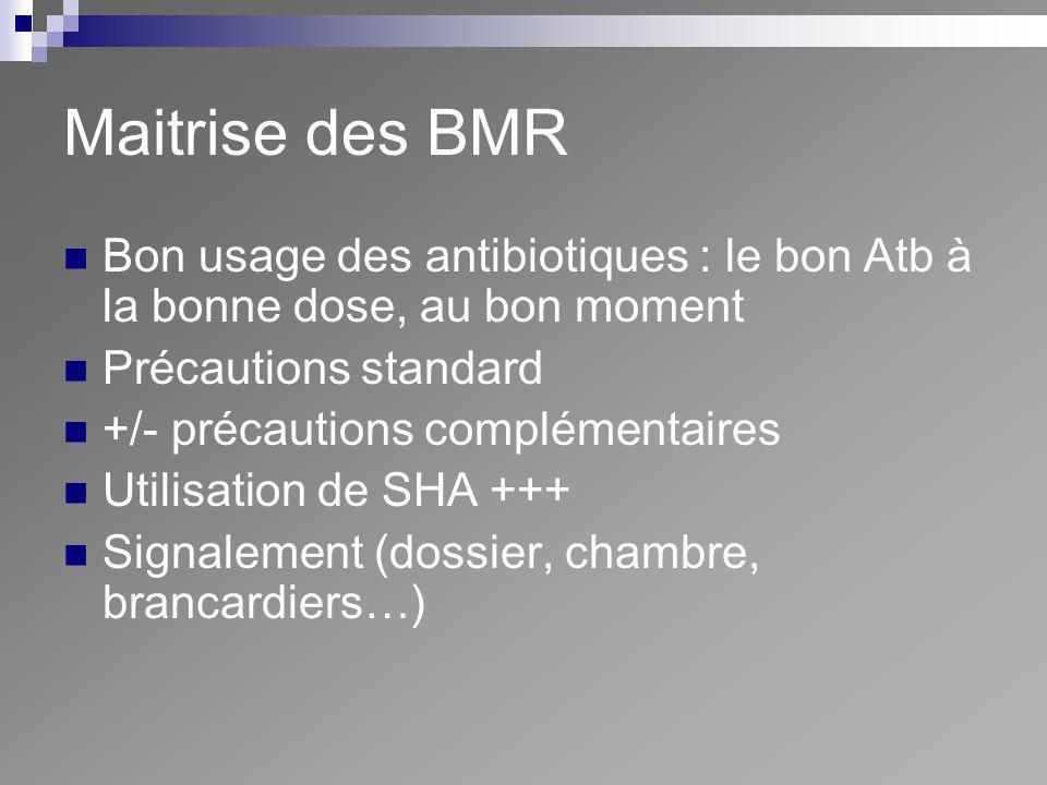 Maitrise des BMR Bon usage des antibiotiques : le bon Atb à la bonne dose, au bon moment. Précautions standard.