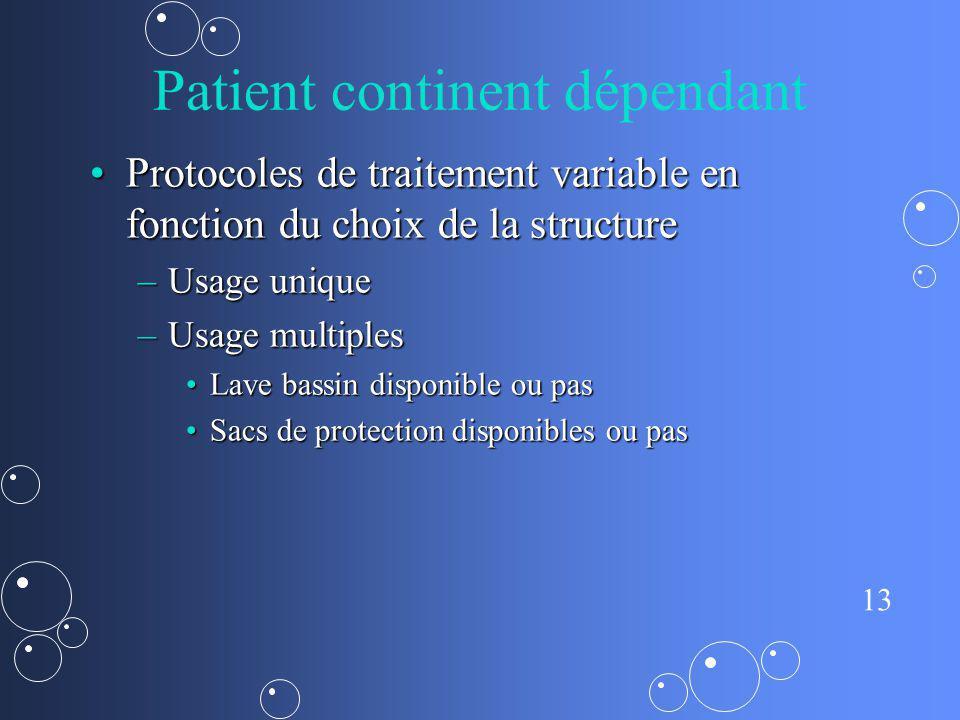 Patient continent dépendant
