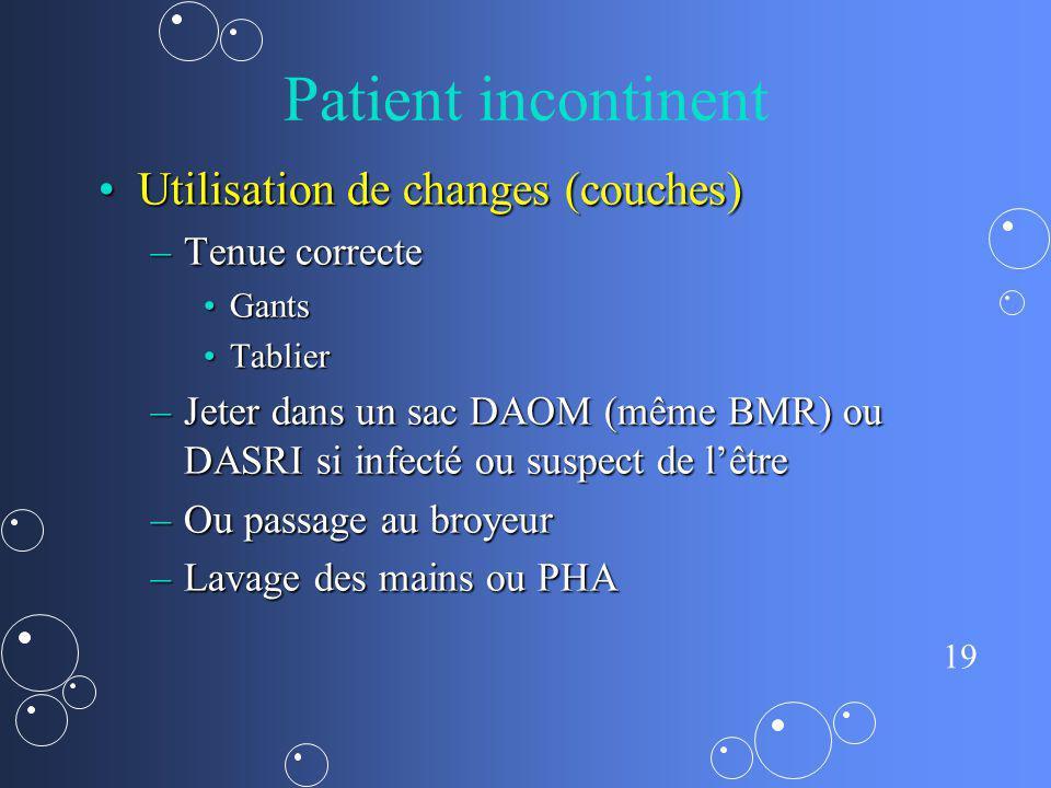 Patient incontinent Utilisation de changes (couches) Tenue correcte