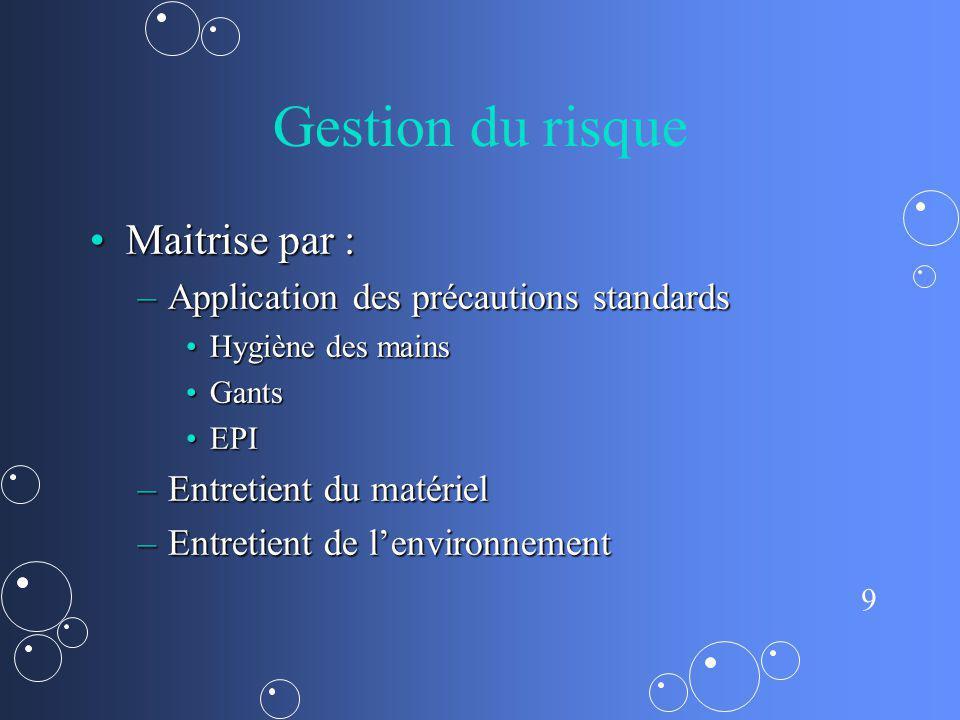Gestion du risque Maitrise par : Application des précautions standards