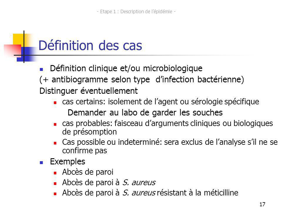 - Etape 1 : Description de l'épidémie -