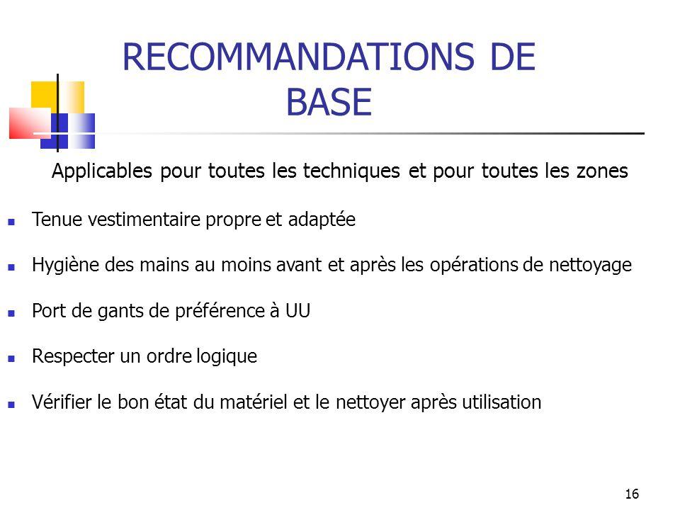 RECOMMANDATIONS DE BASE