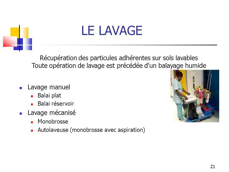 LE LAVAGE Récupération des particules adhérentes sur sols lavables
