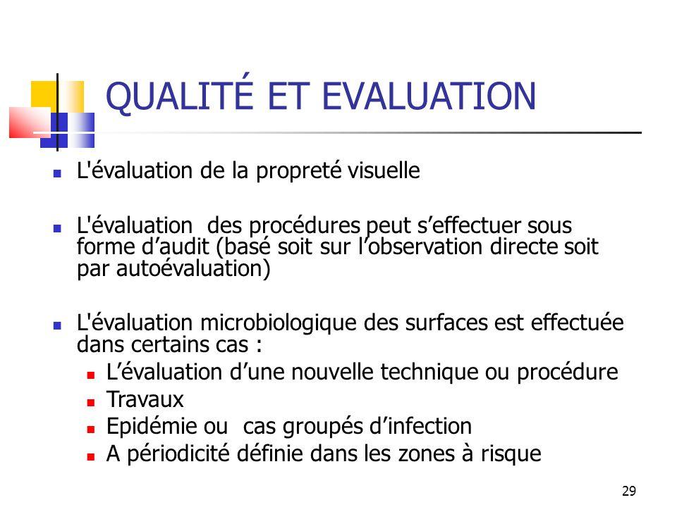 QUALITÉ ET EVALUATION L évaluation de la propreté visuelle