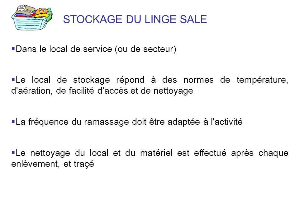 STOCKAGE DU LINGE SALE Dans le local de service (ou de secteur)