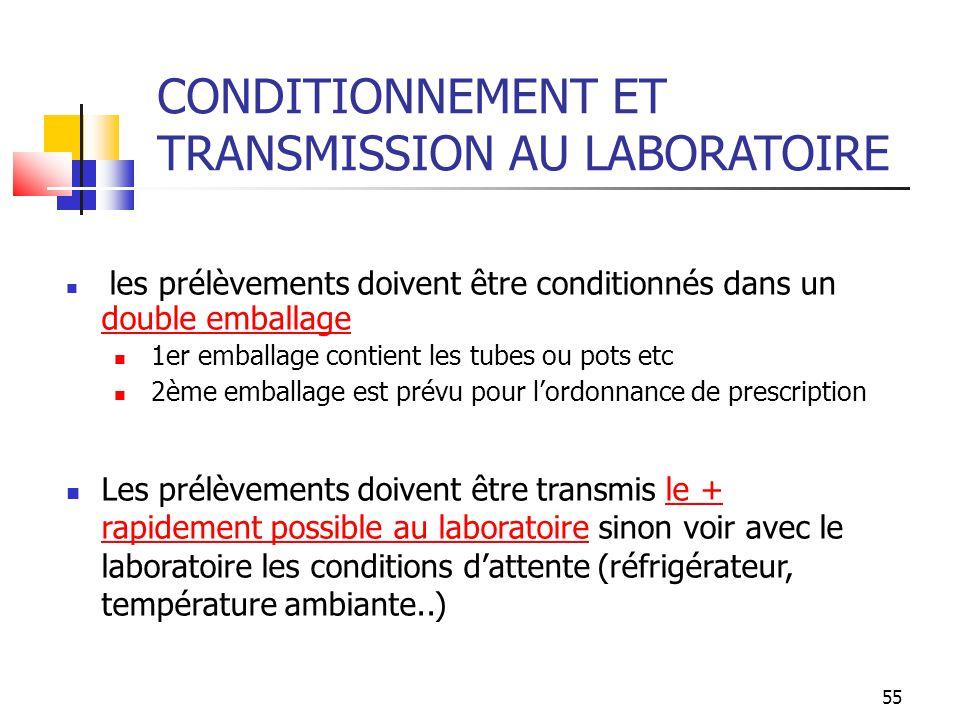 CONDITIONNEMENT ET TRANSMISSION AU LABORATOIRE