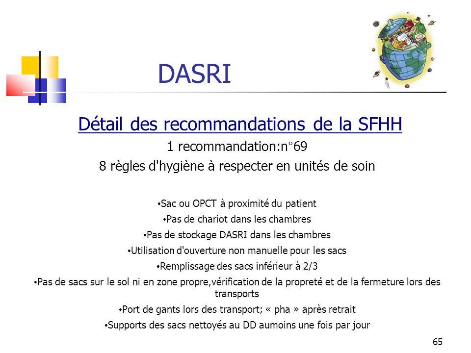 DASRI Détail des recommandations de la SFHH 1 recommandation:n°69