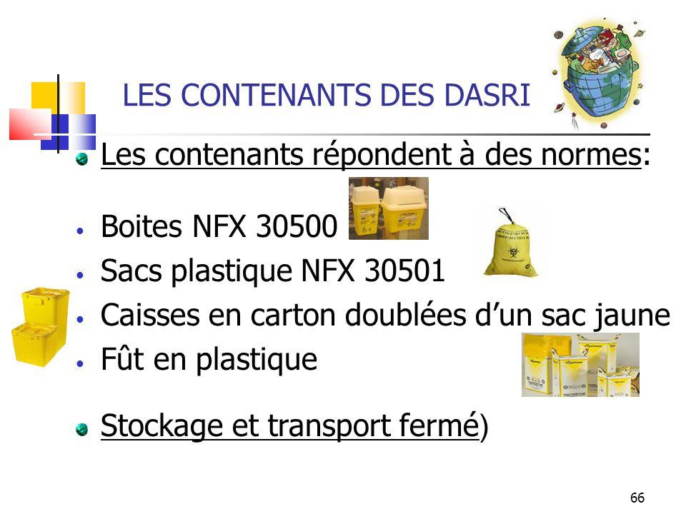 LES CONTENANTS DES DASRI