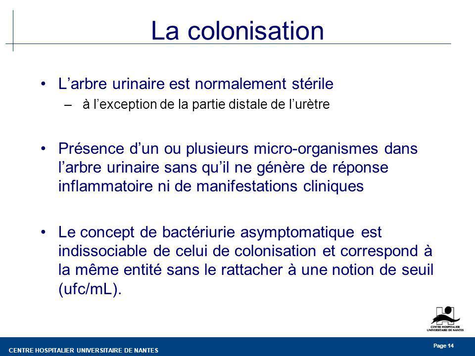 La colonisation L'arbre urinaire est normalement stérile