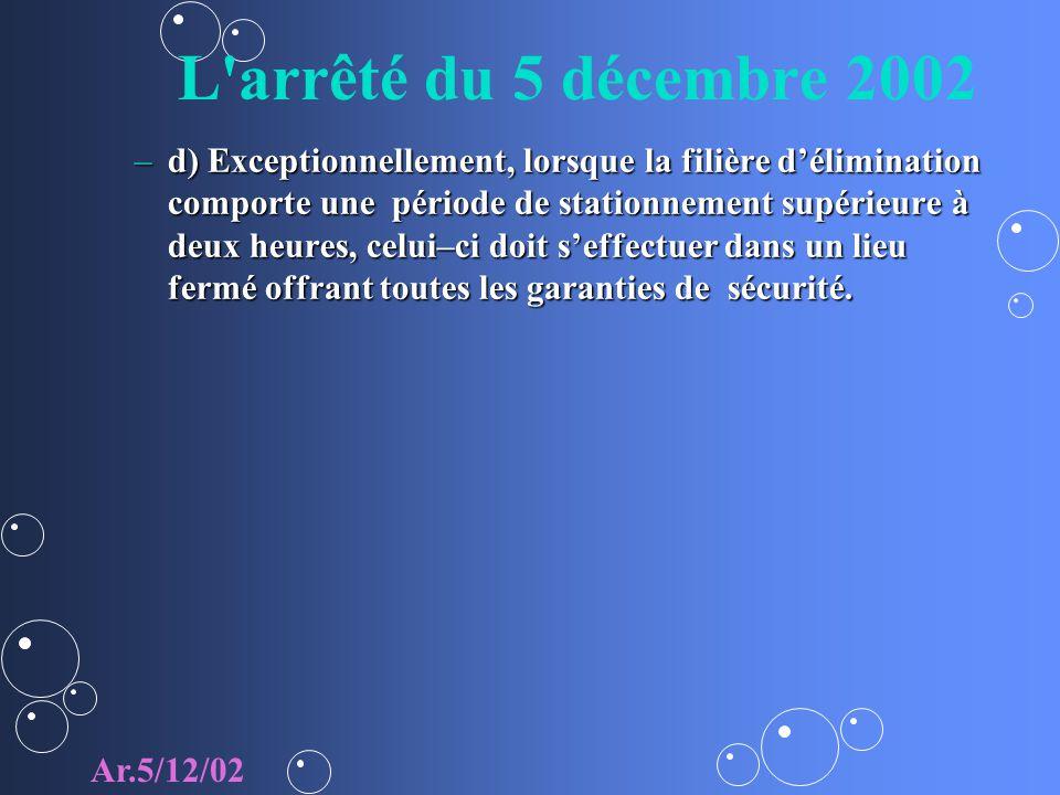 L arrêté du 5 décembre 2002
