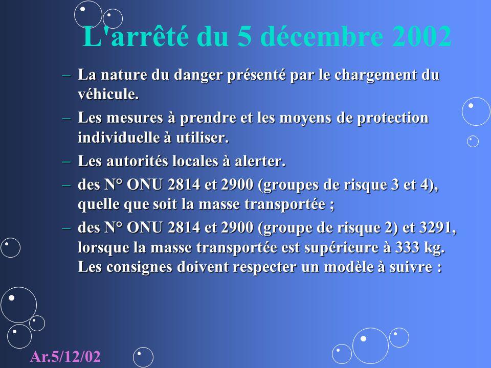 L arrêté du 5 décembre 2002 La nature du danger présenté par le chargement du véhicule.
