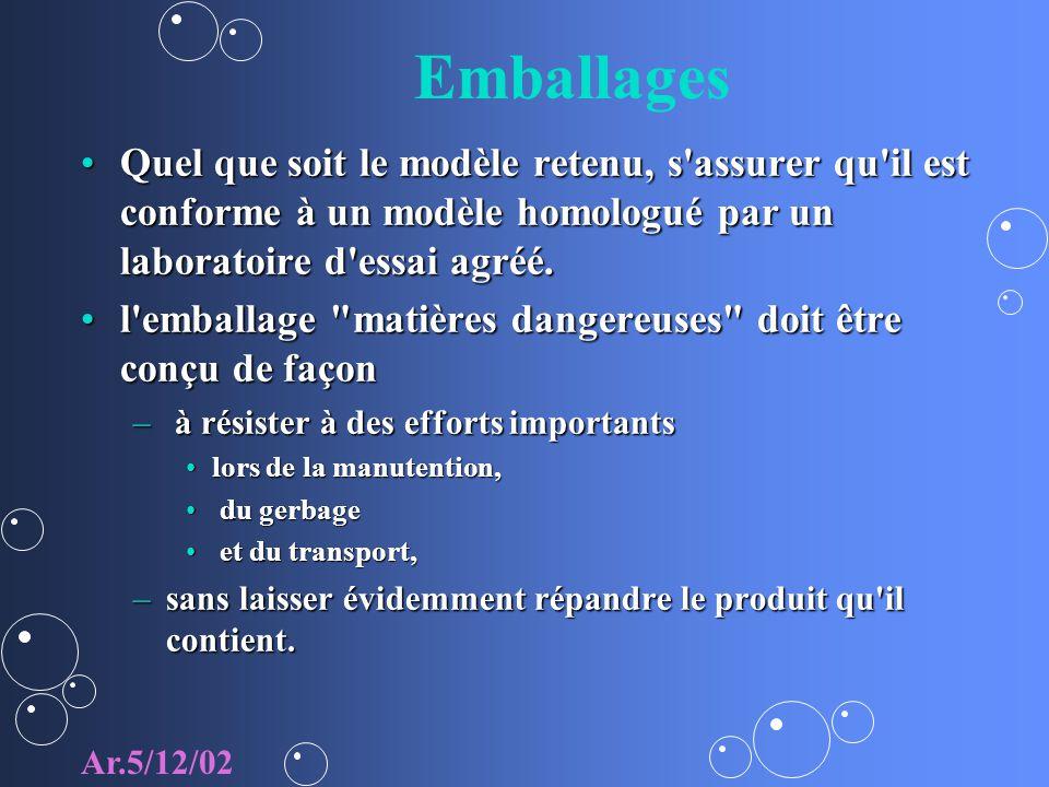 Emballages Quel que soit le modèle retenu, s assurer qu il est conforme à un modèle homologué par un laboratoire d essai agréé.